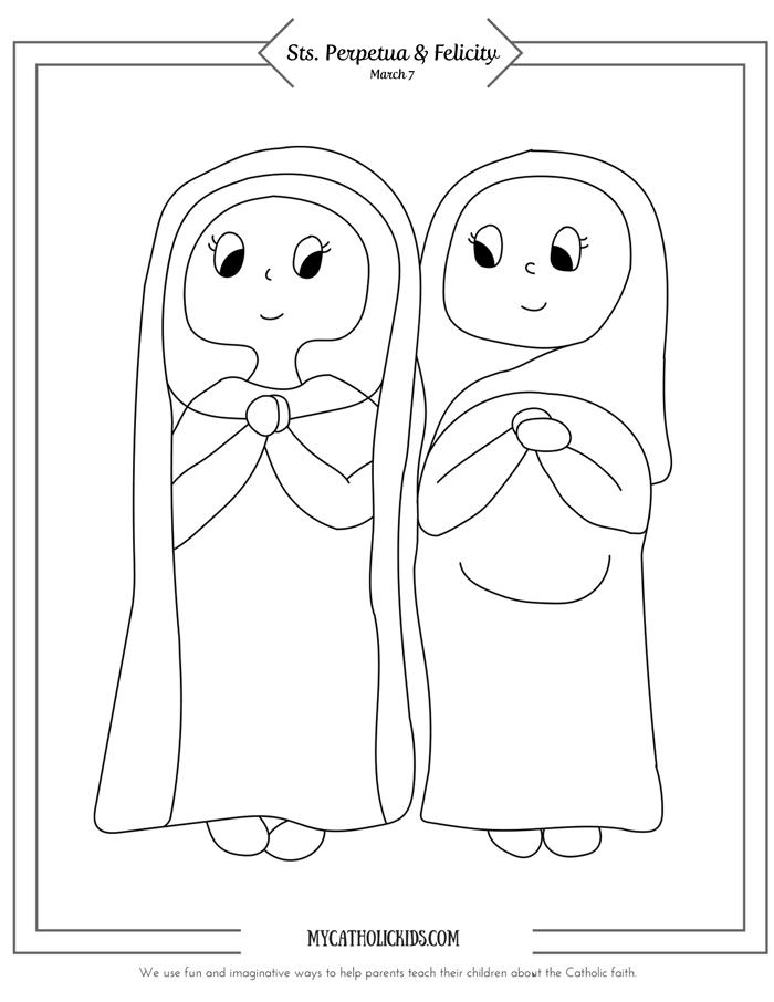 Saints Perpetua & Felicity coloring sheet