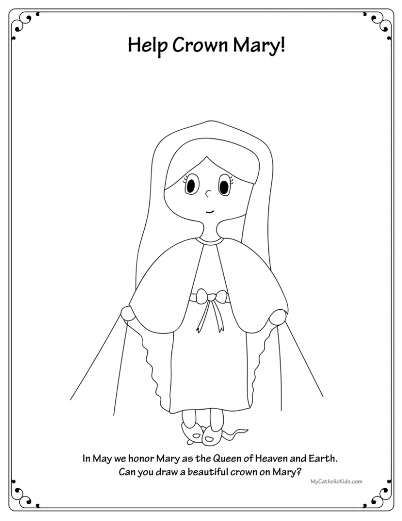 Celebrate may crowning with free marian printables my for May coloring pages printable