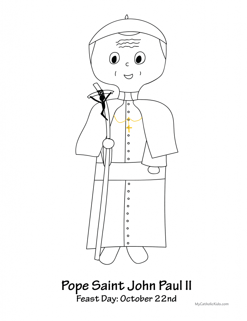Pope Saint John Paul II coloring sheet