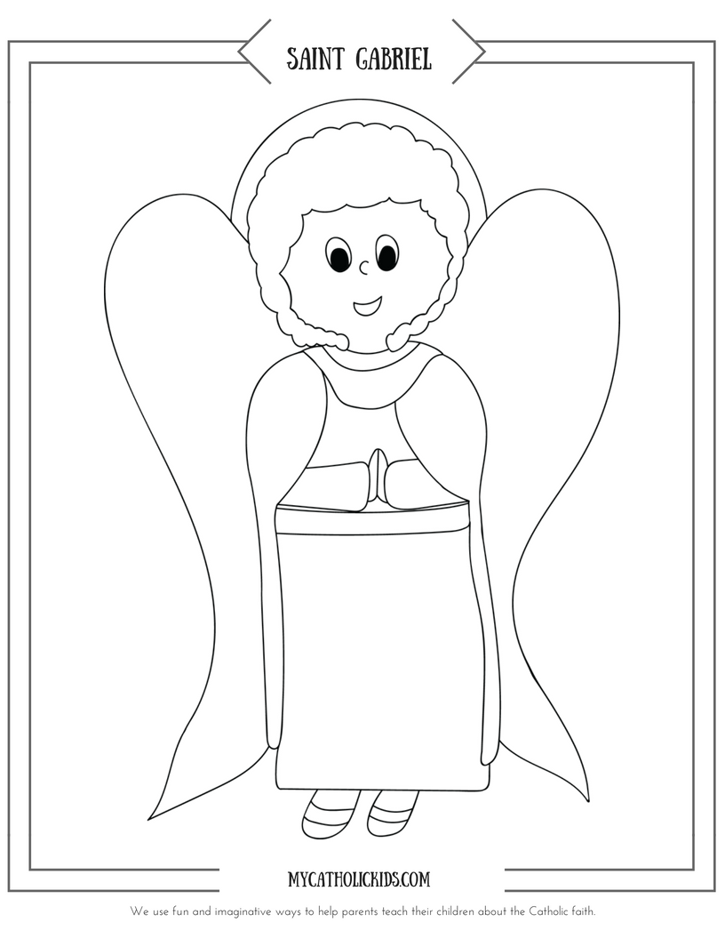 Saint Gabriel coloring sheet