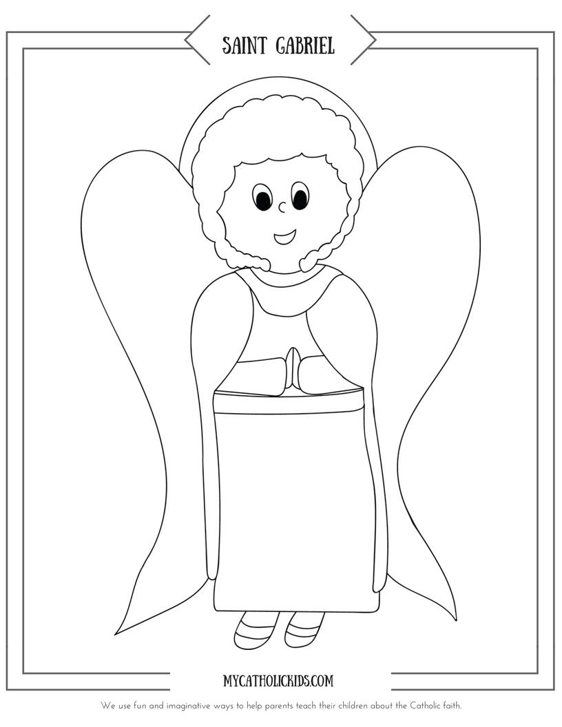 Saint Gabriel coloring sheet