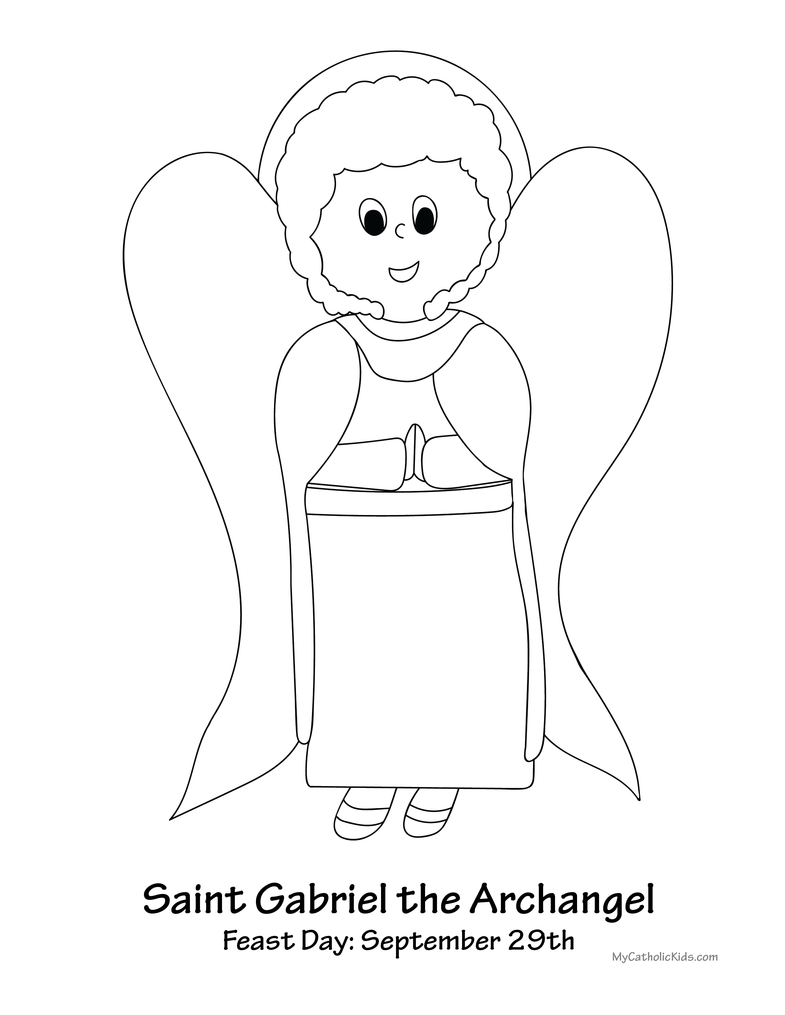 Saint Gabriel the Archangel coloring sheet
