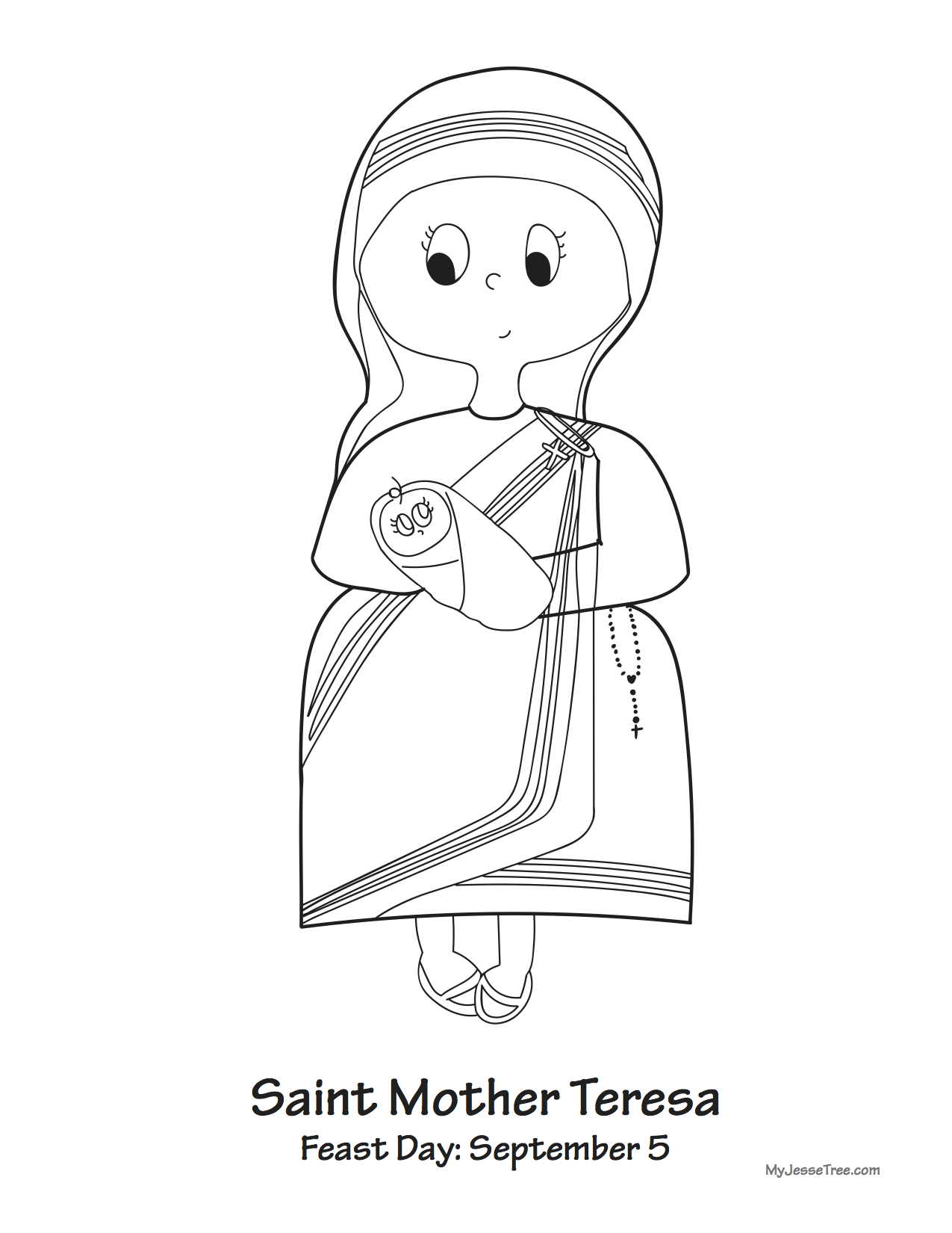 Mother teresa my catholic kids for Mother teresa coloring page
