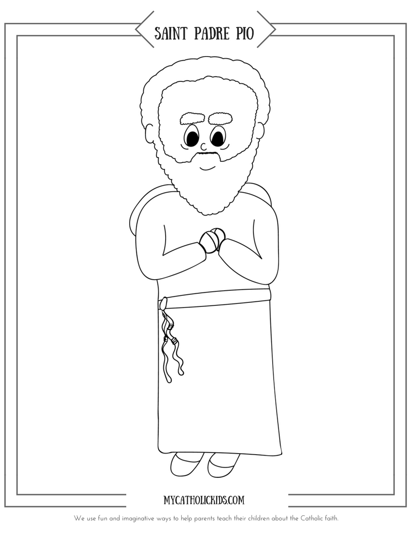 Saint Padre Pio coloring sheet