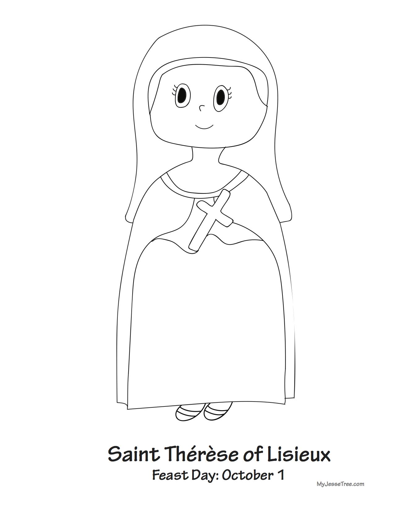 Saint Thérèse of Lisieux coloring sheet