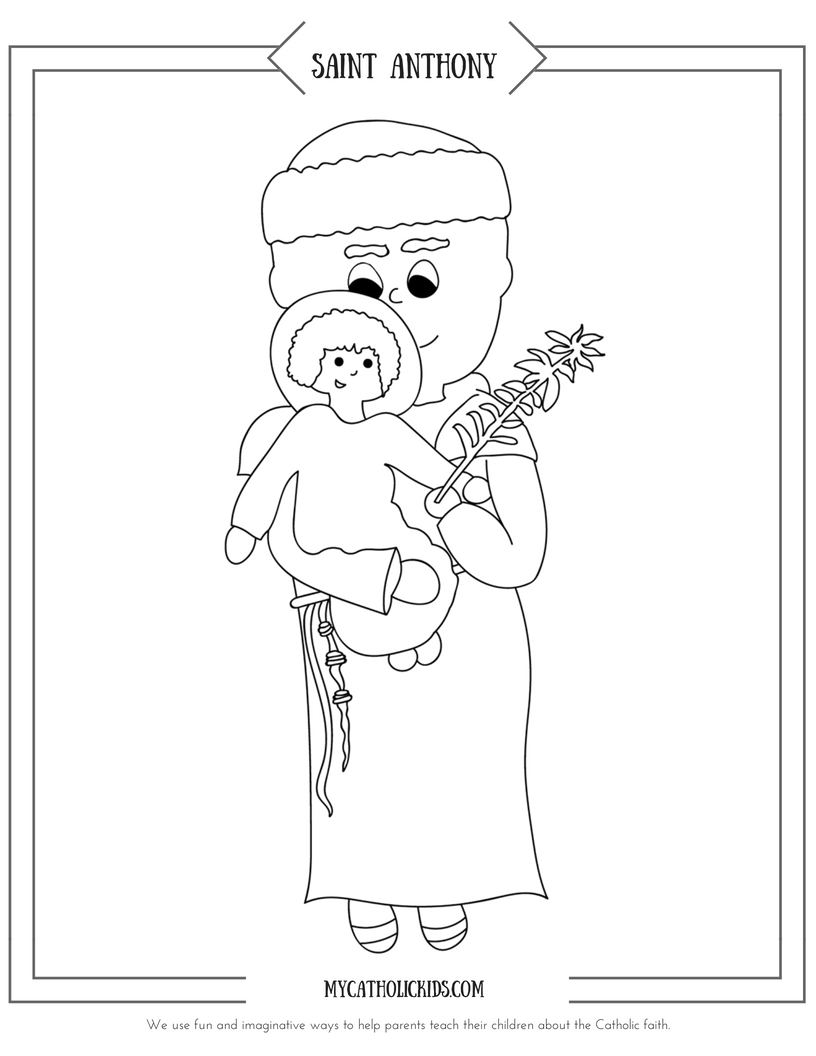 Saint Anthony coloring sheet