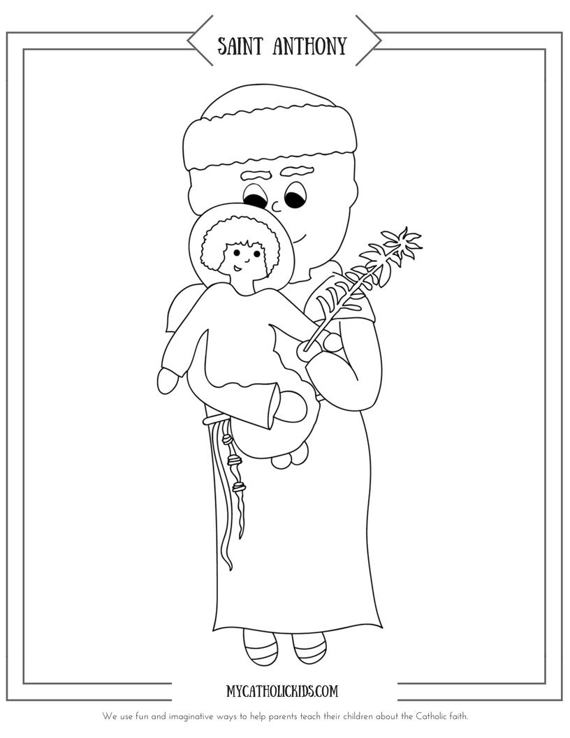 Saint Anthony coloring sheet