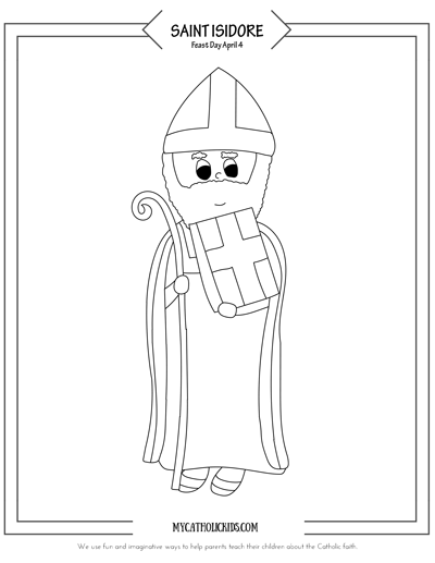 Saint Isidore of Seville Coloring Sheet